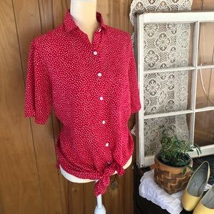 Vintage Tie Front Polka Dot Button Down